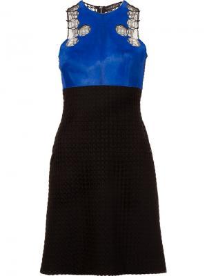 Платье с панелью из меха пони David Koma. Цвет: чёрный