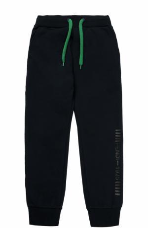 Спортивные брюки с эластичными манжетами и аппликацией Fendi Roma. Цвет: синий