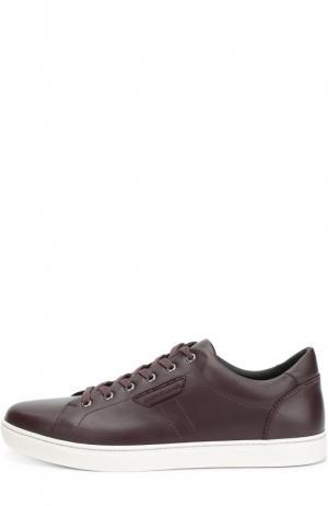 Кожаные кеды London на шнуровке Dolce & Gabbana. Цвет: темно-фиолетовый
