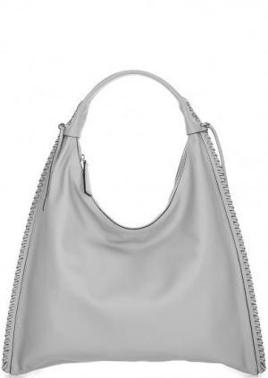 Вместительная кожаная сумка с длинной ручкой Abro. Цвет: серый