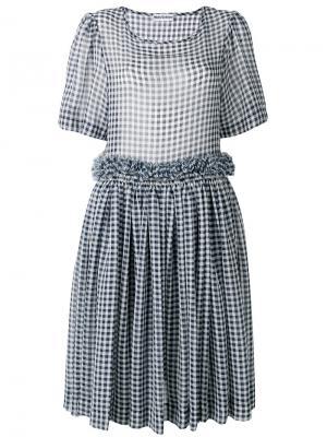 Платье в клетку Molly Goddard. Цвет: синий