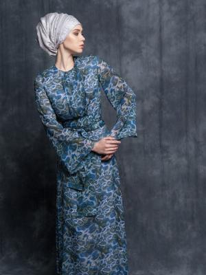 Платье шифоновое макси принт змеиный Bella kareema