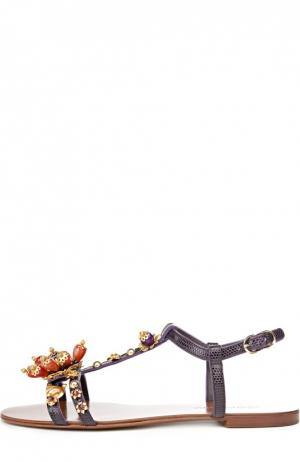 Кожаные сандалии с декором Dolce & Gabbana. Цвет: фиолетовый