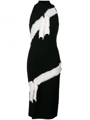 Платье-халтер в рубчик Jonathan Simkhai. Цвет: чёрный