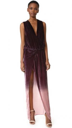 Бархатное платье Juliete Young Fabulous & Broke. Цвет: бордовый с эффектом «омбре»