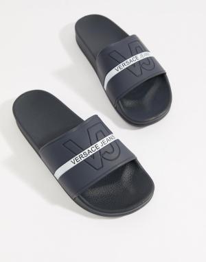 Versace Jeans Темно-синие шлепанцы с логотипом. Цвет: темно-синий