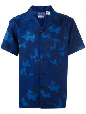 Рубашка с цветочным принтом Blue Japan. Цвет: синий