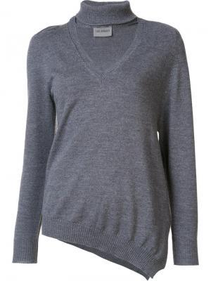 Трикотажная блузка с V-образным вырезом Les Animaux. Цвет: серый