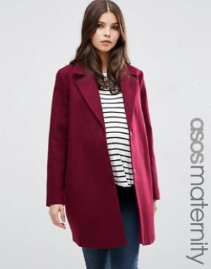 ASOS Maternity Пальто-кокон для беременных Ultimate. Цвет: красный