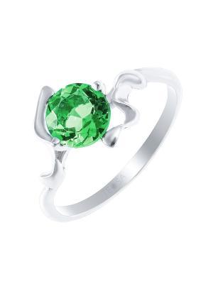 Кольцо Teosa. Цвет: серебристый, зеленый