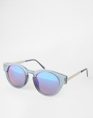 Trip Круглые солнцезащитные очки с зеркальными линзами. Цвет: синий