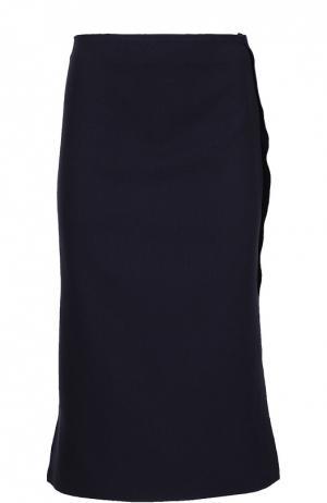 Прямая юбка с контрастной отделкой Acne Studios. Цвет: синий