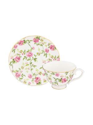 Чайная пара Плетистая роза Elan Gallery. Цвет: белый, зеленый, розовый