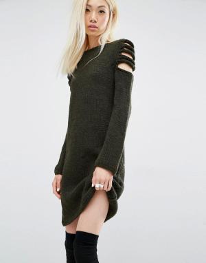 Oneon Платье-джемпер ручной вязки с вырезами на плечах. Цвет: зеленый