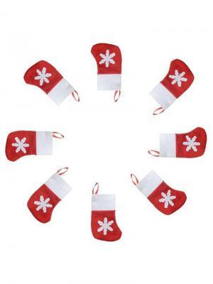 Новогодний носок для сервировки стола, 6 шт. Дерево Счастья. Цвет: красный, белый