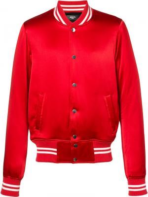 Куртка-бомбер с полосатой отделкой Amiri. Цвет: красный
