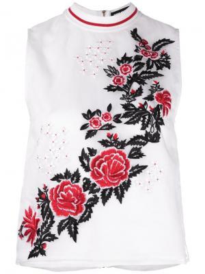 Топ с вышивкой роз House Of Holland. Цвет: белый