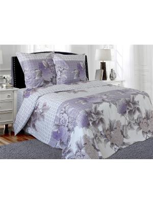 Комплект постельного белья 1,5-спальный Блакiт. Цвет: сиреневый, белый