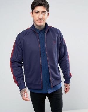 Fred Perry Темно-синяя спортивная куртка с контрастными вставками. Цвет: темно-синий
