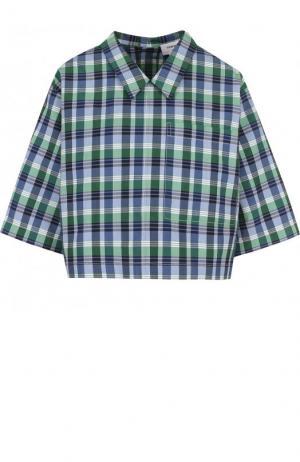 Блуза свободного кроя из смеси хлопка и шелка Thom Browne. Цвет: зеленый