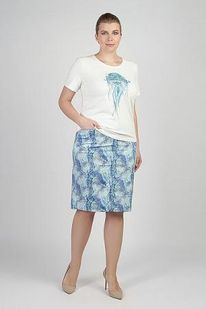 Юбка женская  Ls-718156 PRINTJELLYFISH Steinberg. Цвет: синий,голубой