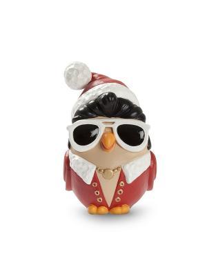 Керамическая статуэтка сова Новогодний Элвис Пресли Goofi. Цвет: красный