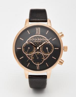 Olivia Burton Большие часы‑хронограф. Цвет: черный