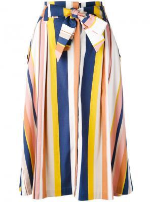 Полосатая юбка А-образного силуэта Tanya Taylor. Цвет: многоцветный