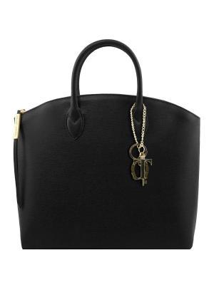 Сумка-тоут из кожи Саффьяно большого размера Tuscany Leather. Цвет: черный
