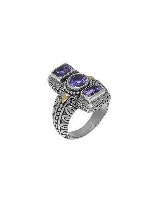 Кольцо DEN'O. Цвет: серебристый, фиолетовый
