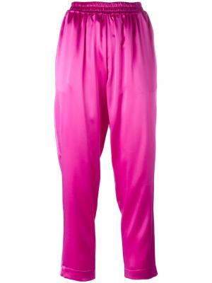 Зауженные атласные брюки Gianluca Capannolo. Цвет: розовый и фиолетовый