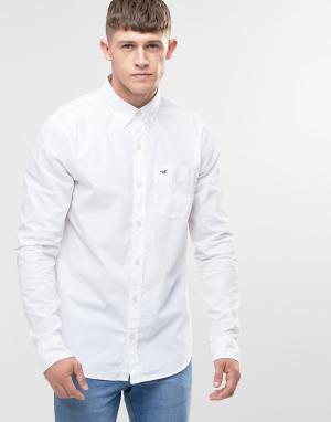 Hollister Белая поплиновая рубашка узкого кроя. Цвет: белый
