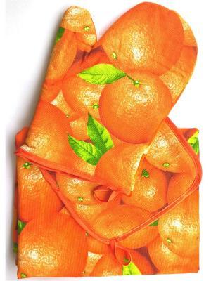 Кухонный набор из 3 полотенец, прихватки и варежки, хлопок Letto. Цвет: оранжевый