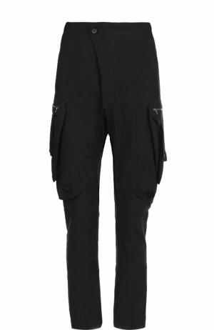 Льняные брюки карго с заниженной линией шага Masnada. Цвет: черный
