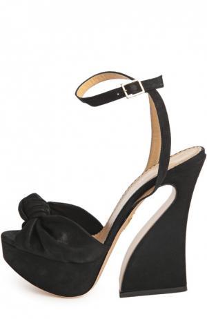 Замшевые босоножки Vreeland на фигурном каблуке Charlotte Olympia. Цвет: черный