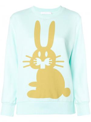 Толстовка с принтом кролика Peter Jensen. Цвет: синий