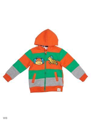 Куртка трикотажная с начёсом Kidly. Цвет: оранжевый, зеленый