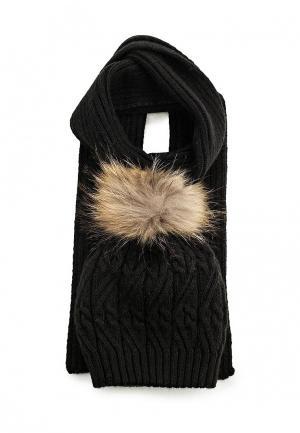 Комплект шапка и шарф Ferz. Цвет: черный