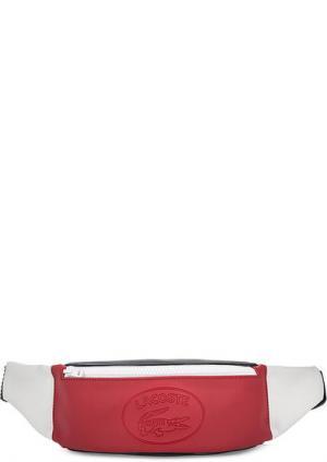 Поясная сумка на молнии Lacoste. Цвет: красный