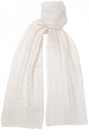 Шарф фактурной вязки из кашемира Kashja` Cashmere. Цвет: белый