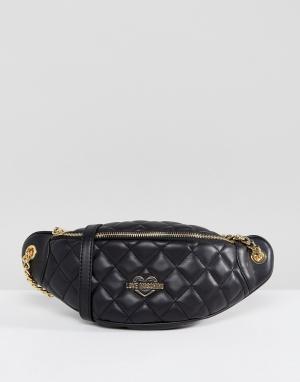 Love Moschino Стеганая сумка-кошелек на пояс. Цвет: черный