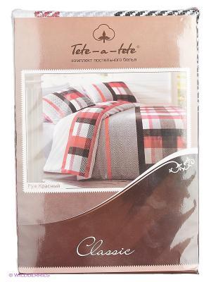 Комплект постельного белья Руж Красный Тет-а-Тет. Цвет: темно-коричневый, красный, белый