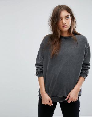 Uncivilised Оверсайз-свитер с выбеленной отделкой. Цвет: черный