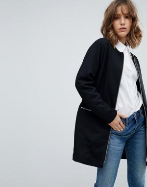 MbyM Пальто без воротника. Цвет: черный