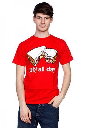 Футболка  Pbj All Day Red Enjoi. Цвет: красный