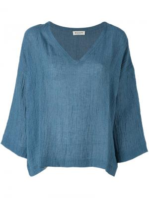 Блузка с V-образным вырезом Masscob. Цвет: синий