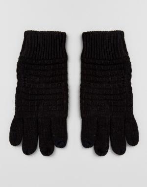 River Island Черные перчатки с вафельной текстурой. Цвет: черный