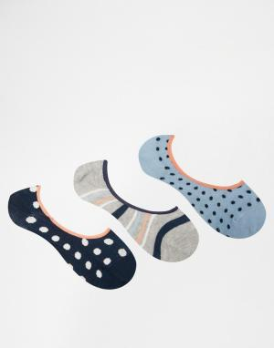 Penguin Набор из 3 пар носков в темно-синий горошек