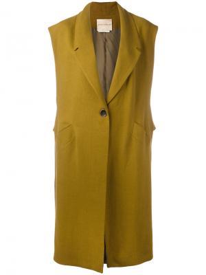 Свободное классическое пальто без рукавов Erika Cavallini. Цвет: зелёный
