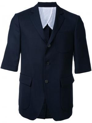 Пиджак с карманами клапанами Wooster + Lardini. Цвет: синий
